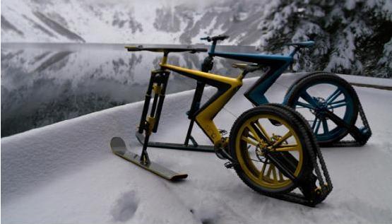 雪地专用自行车:用滑雪板当轮子你见过吗--广州磐众智能科技有限公司