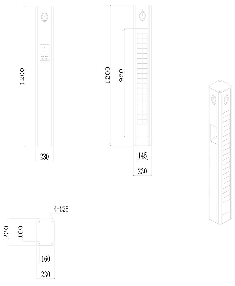 广州磐众智能科技有限公司太阳能户外充电桩产品规格尺寸-广州磐众智能科技有限公司