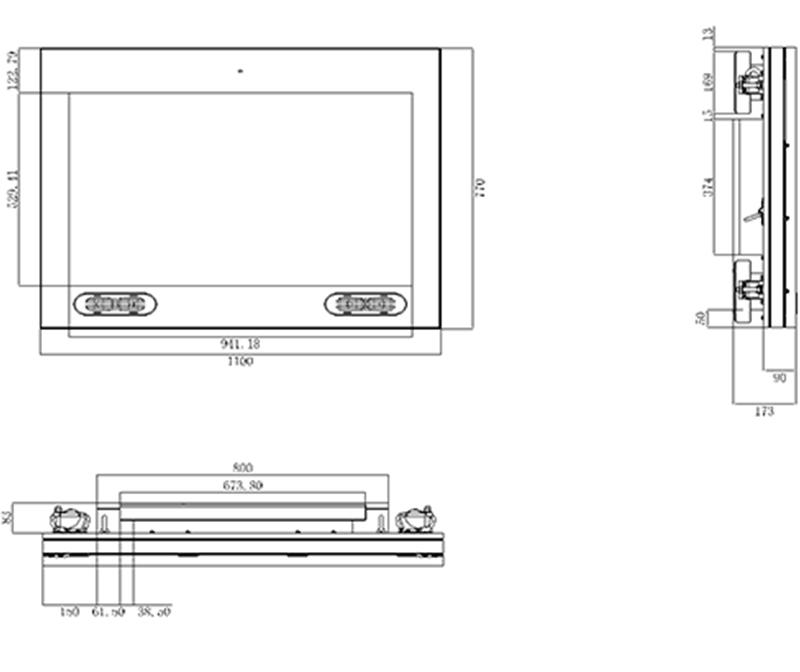 磐众43寸户外防水广告机尺寸规格-广州磐众智能科技有限公司
