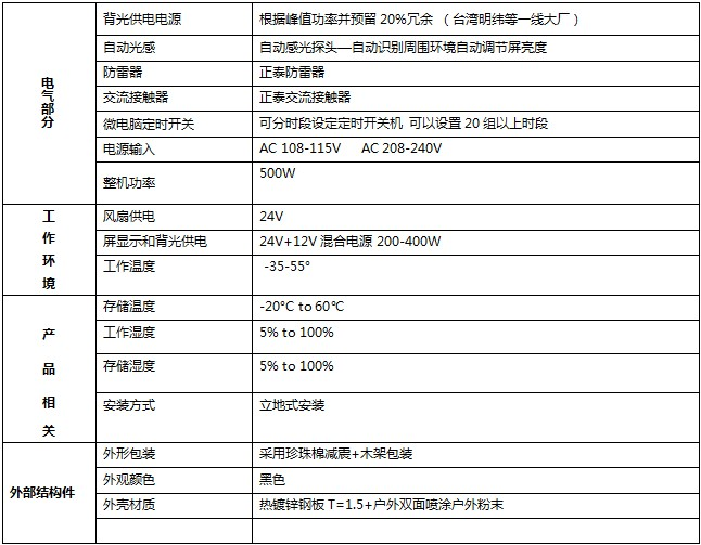 磐众43寸户外防水广告机规格参数-广州磐众智能科技有限公司