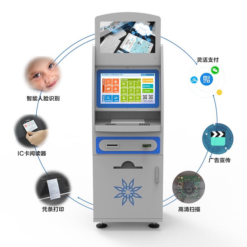 智能人脸识别、IC卡阅读器、凭条打印、高清扫描、广告宣传、灵活支付