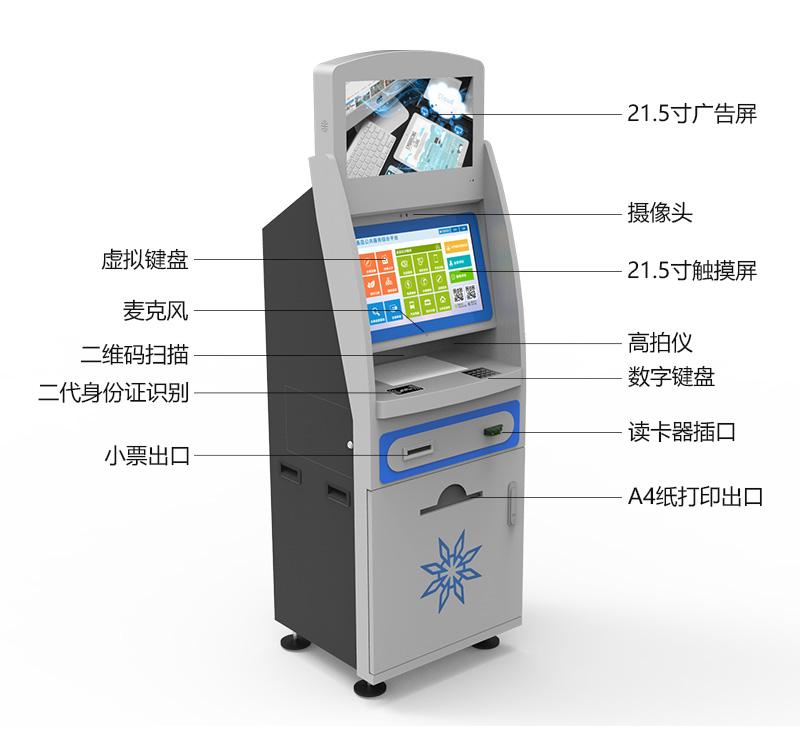 液晶广告屏、高清摄像头、虚拟键盘、麦克风、二维码扫描仪、二代身份证识别、小票出口、高拍仪、数字键盘、ID.IC读卡器、